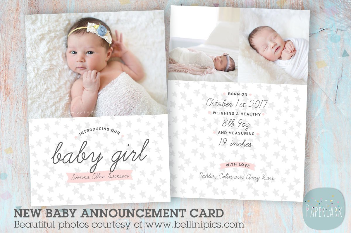 an007 baby girl announcement card card templates. Black Bedroom Furniture Sets. Home Design Ideas