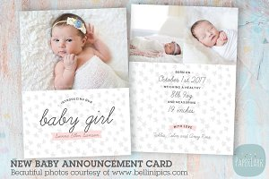 AN007 Baby Girl Announcement Card