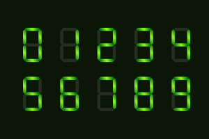 Set of green digital number signs