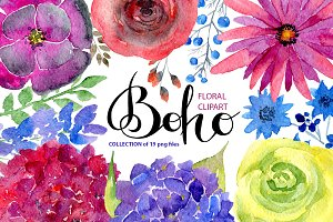 Watercolor bright boho flowers
