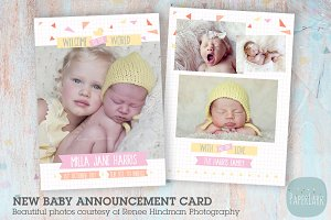 AN001 Newborn Baby Card Announcement