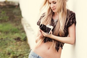 Blonde with a camera