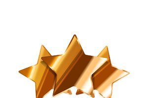 Three glossy bronze rating stars
