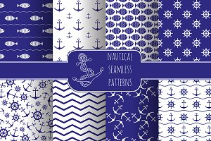 8 nautical seamless patterns