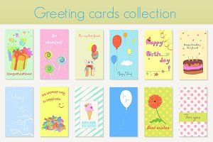 Birthday holiday greeting cards set.