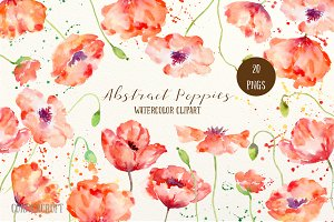 Watercolor Abstract Poppies Red