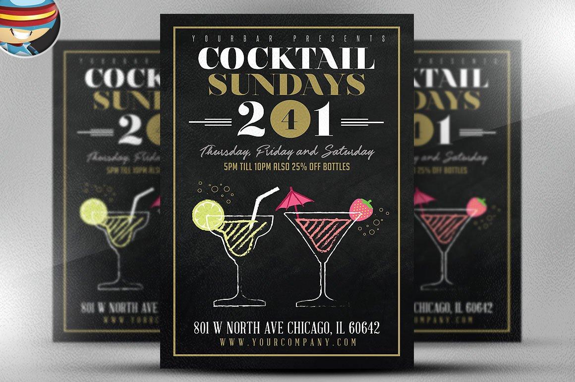 handyman flyer template flyer templates on creative market cocktail sundays flyer template