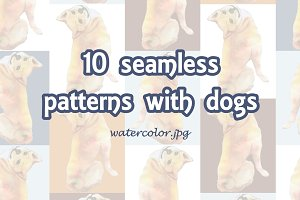 10 seamless patterns with dogs