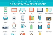 36 Multimedia devices flat icons set
