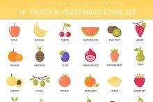 36 fruits & vegetables flat icon set