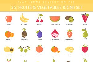 36 fruits & vegetables flat icon set