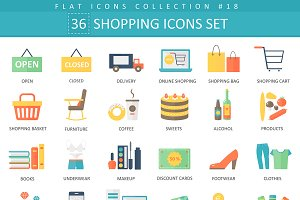 36 shopping flat icons set.