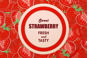 Ripe strawberry seamless pattern.