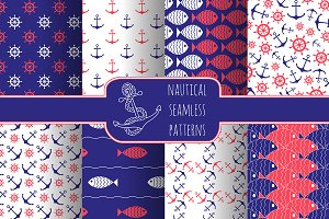 Nautical Seamless Patterns Set