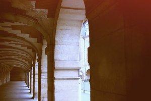 Place des Vosges arcades in Paris