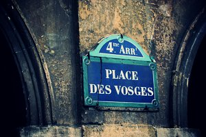 Place des Vosges street sign, Paris