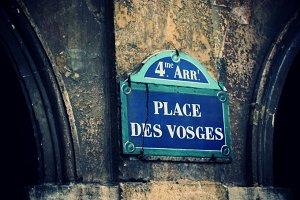 Place des Vosges street sign, Paris