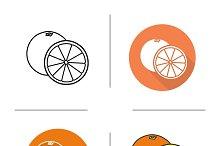 Orange icons. Vector