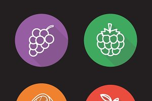 Berries and fruit flat icons. Vector