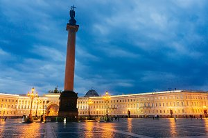 Palace Square night lights view of Alexander Column in St. Petersburg, Russia