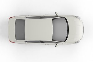 White Sedan Car on white background