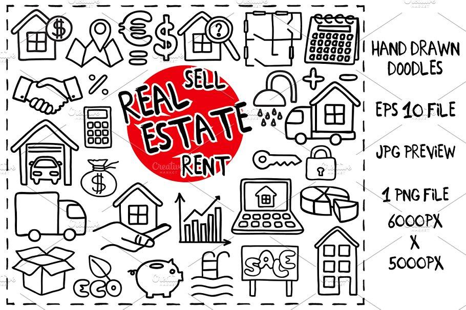 Real Estate Doodle set