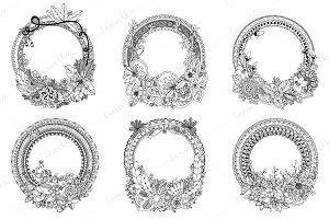 Set of 6 doodle art frames.