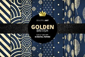 Blue Golden British Digital Papers
