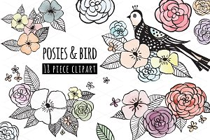 Posies & bird, flower clipart bundle