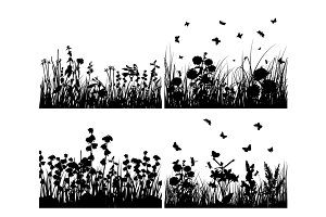 Set of four grass silhouettes