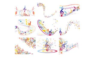Multicolor musical notes set