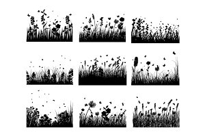 Grass silhouettes backgrounds set