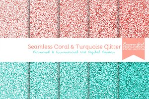 Seamless Coral & Turquoise Glitter