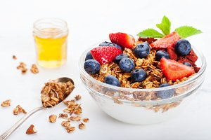 Healthy breakfast Fresh granola, muesli in bowl