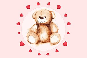 Watercolor Teddy Bear toy card