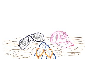 Summer Items in sketch style