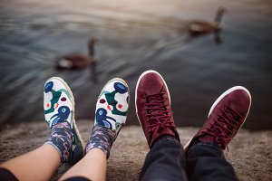 Feets with shoes of the couple