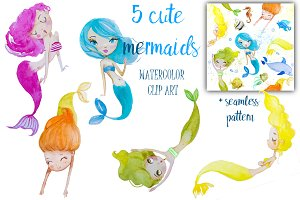 set with watercolor mermaids