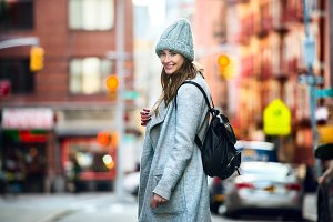 woman walking in New York