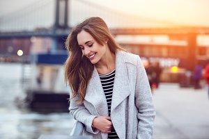 Beautiful happy woman walking