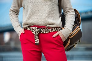 casual spring outfit with red pants