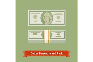 Hundred dollars banknote and pack