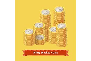 Pile of stacked gold coins
