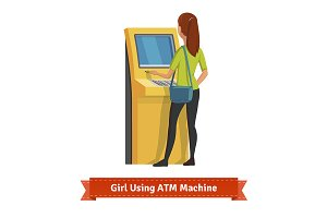 Girl at ATM machine doing deposit