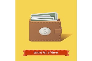 Wallet full of green dollars.