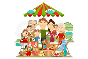 Picnic family vector