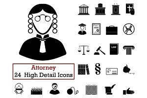 Set of 24 Attorney Icons