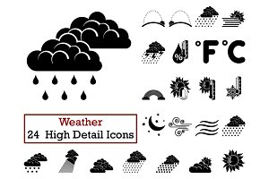 Set of 24 Weather Icons