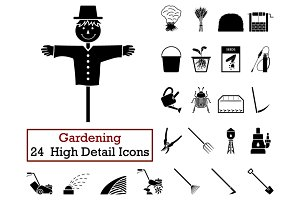 Set of 24 Gardening Icons