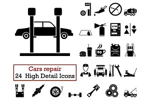 Set of 24 Car repair Icons